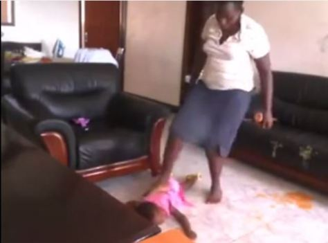 Girl mercilessly beating a child babysitter